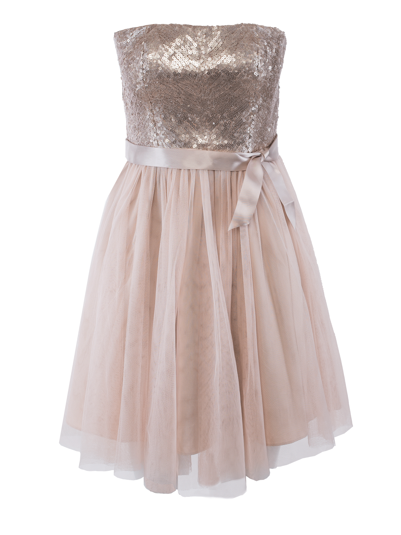 Beaded Strapless Party Cocktail Dress in Champagne - fEROSh