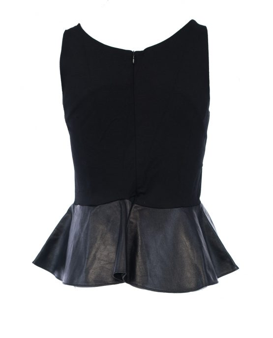 amanda_uprichard_sleeveless_black_panel_leather_party_cocktail_dress_back