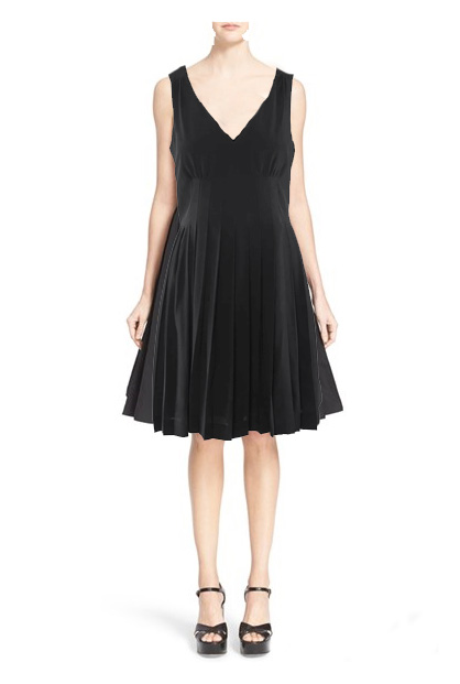 Black-MARC-JACOBS-Pleated-Sleeveless-Fit-Flare-Dress-Women-iYJX5j