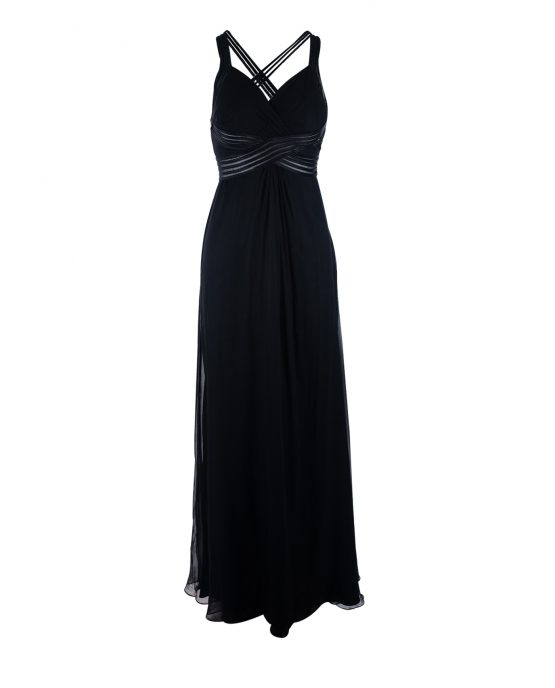 black_chiffon_aidan_mattox_cocktail_red_carpet_dress_full_length