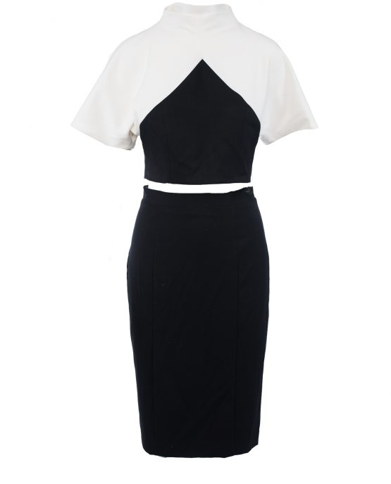 black_halo_2_piece_dress_skirt_outfit_black_white_colorblock