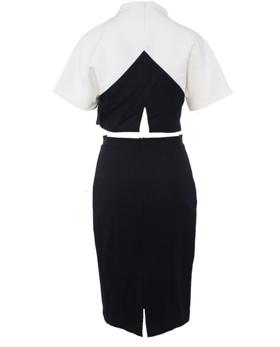 black_halo_2_piece_dress_skirt_outfit_black_white_colorblock_back