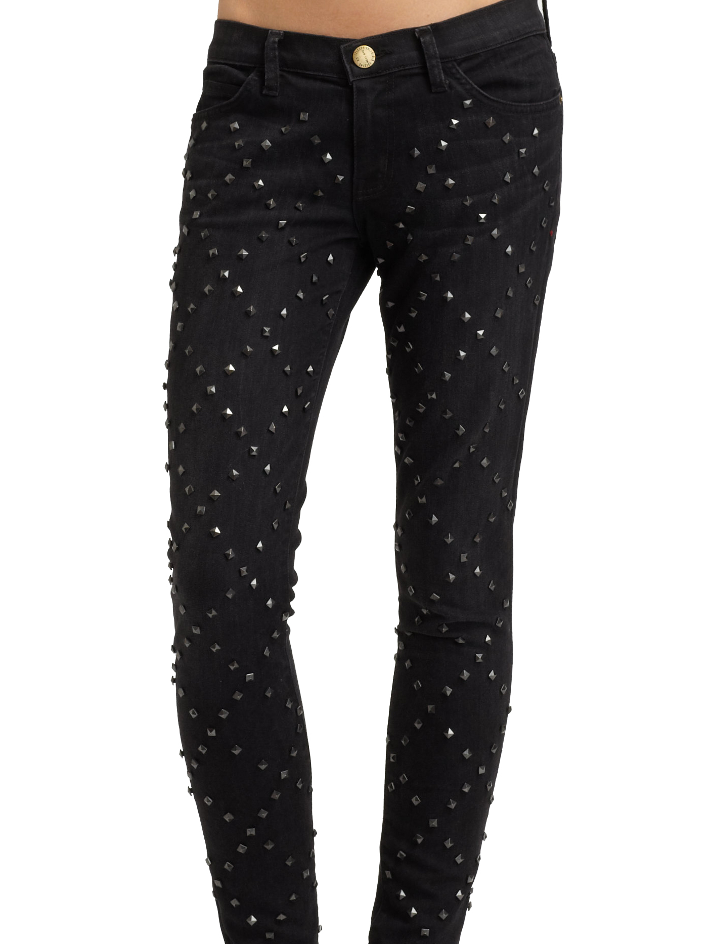 ankle studded skinny jeans black
