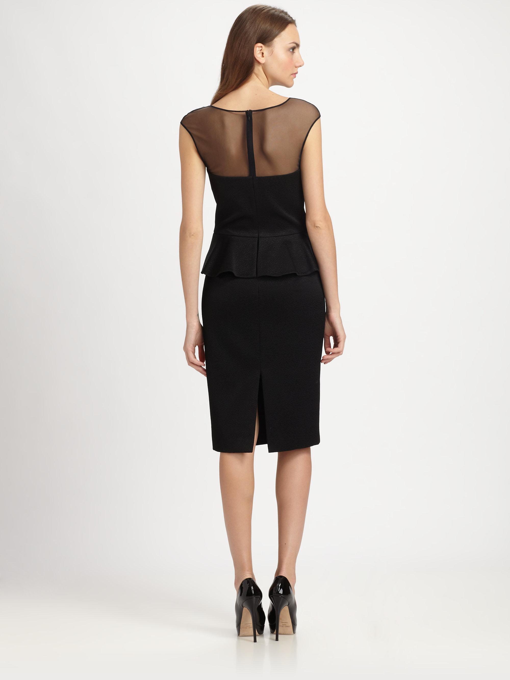 Black Peplum Cocktail Party Dress - fEROSh