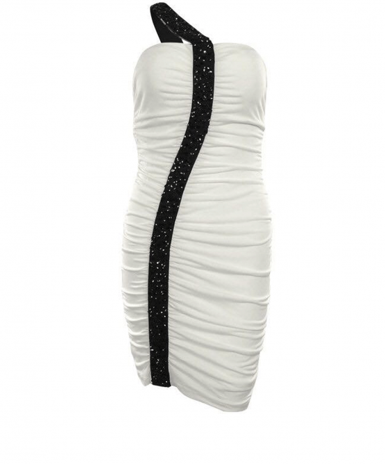 Guess Rutched Dress - Black White one Shoulder