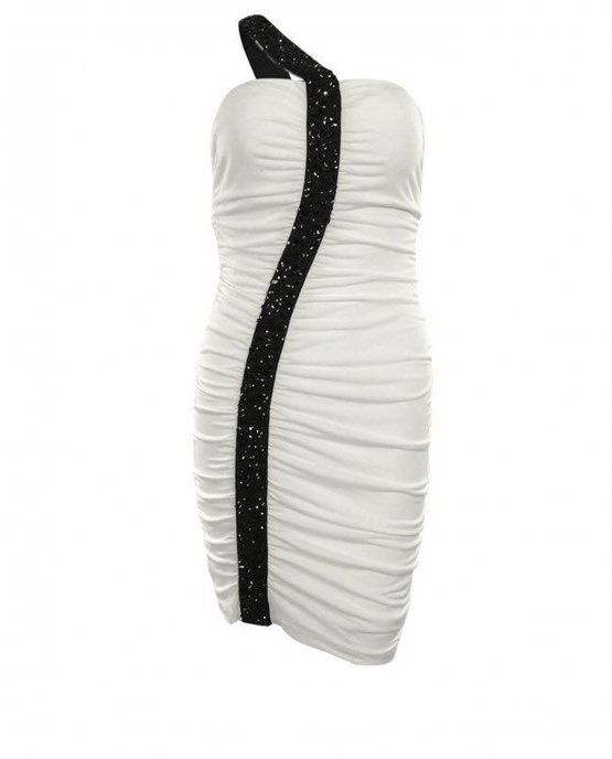 guess-rutched-evening-cocktail-dress-black-white-one-shoulder