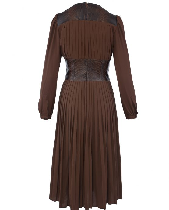 michael_kors_collection_leather_belted_pleat_dress_brown