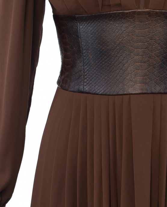 michael_kors_collection_leather_belted_pleat_dress_brown_closeup