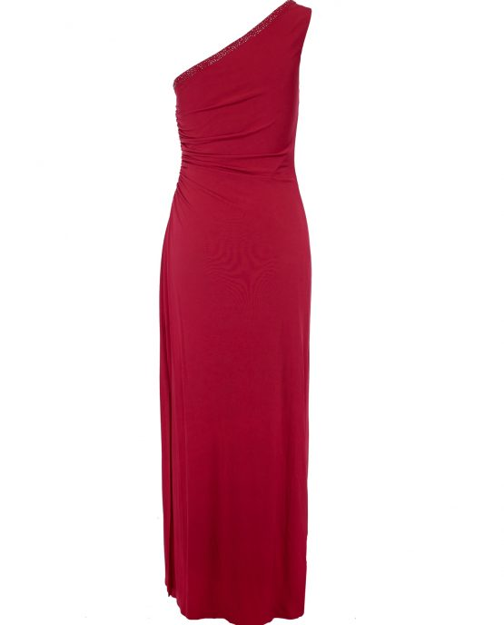 shelli_segal_laundry_red_cocktail_dress_one_shoulder_back