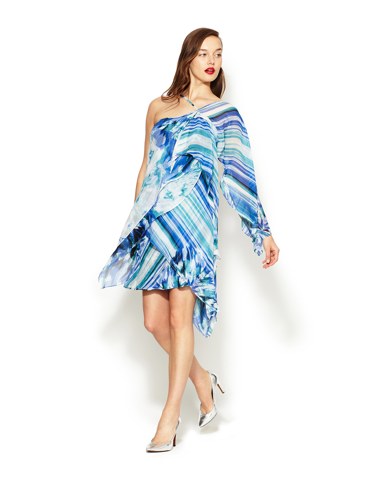 Assymetrical Watercolor Crepe Dress - fEROSh