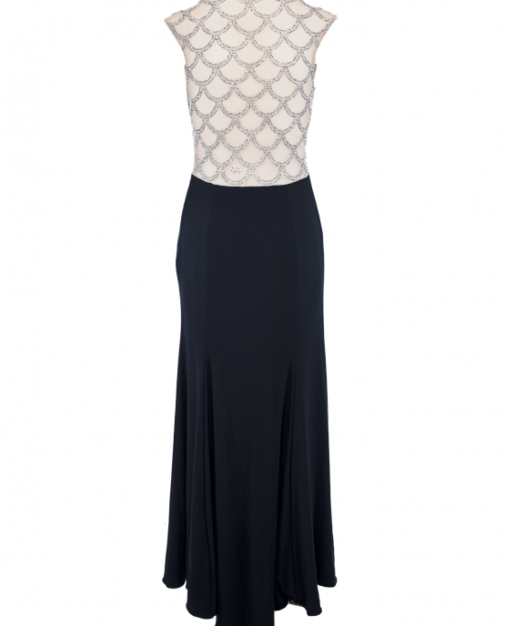 xscape_navy_blue_gown_train_back