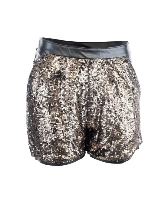 Gold Sequin Faux Leather Shorts