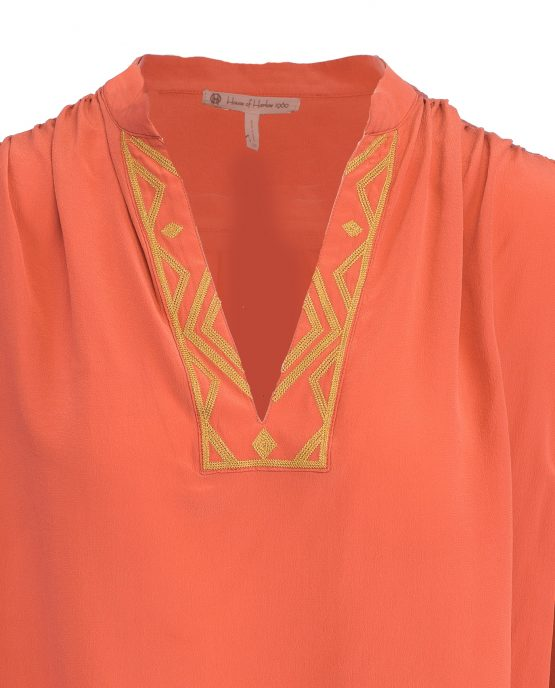orange-house-of-harlow-aztec-blouse-closeup