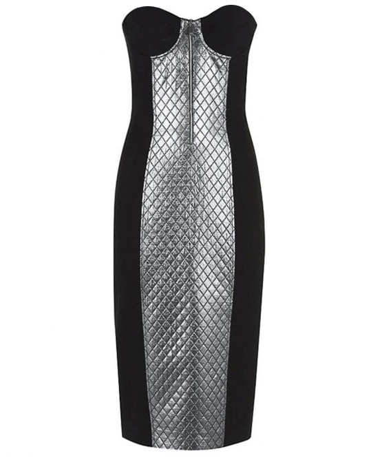Michael Kors Collection Silver Black Colorblock dress