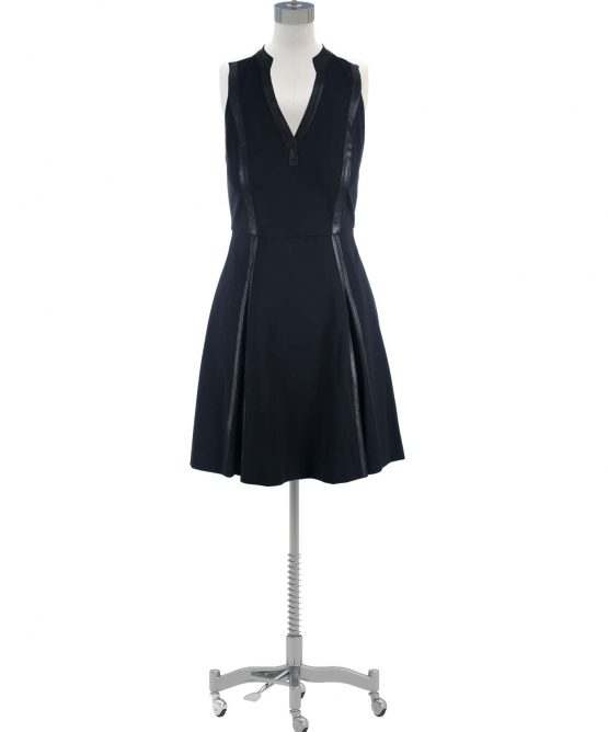 Rebecca Taylor Black Dress Ponte Leather Trim