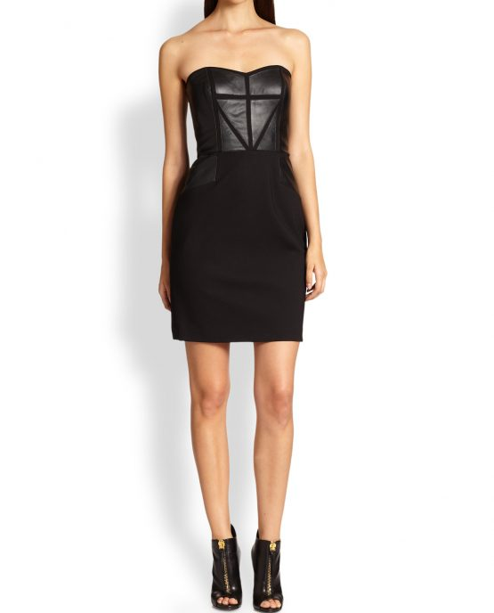 sleeveless_black_panel_leather_party_cocktail_dress_girl