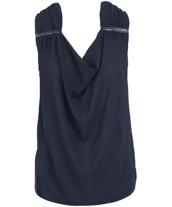 House Of Harlow 1960 Black Blouse Sleeveless