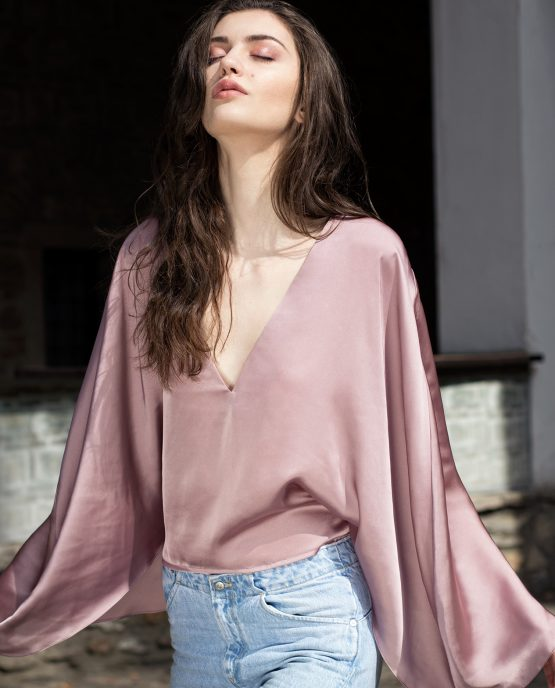 Rose Pink Silk Longsleeve Top